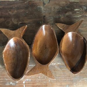 Other - Set of 3 Wooden Fish Trinket/Snack Dishes